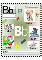 English Worksheets: Letter Bb poster and Writing worksheet