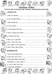 English worksheet: ORDER WORDS TO MAKE SENTENCES