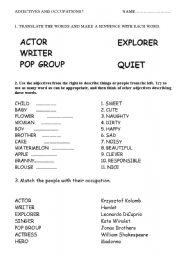 English Worksheets: adjectives and occupations