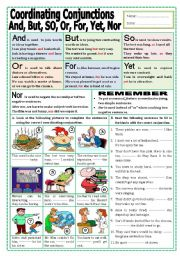 English Worksheet: Coordinating Conjunctions (And, But, So, Or, For, Yet, Nor)