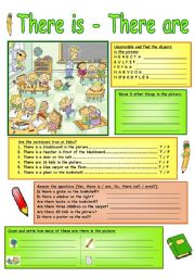 English Worksheet: There Is - There Are