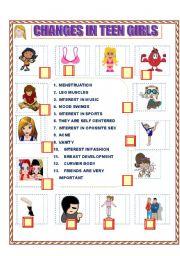 PUBERTY Changes in teen girls Match - ESL worksheet by ilona