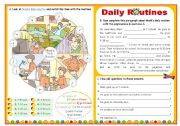 English Worksheet: Daily Routine  -  Focus on basic vocabulary  +  Simple Present  +  Wh-questions