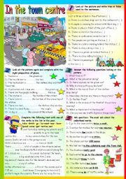 English Worksheets: IN THE TOWN CENTRE (KEY+W&W VERSION INCLUDED)