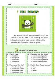 English Worksheets: nº6 easy reading comprehension