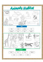 Animals Habitat (sea-jungle) - Cut and paste