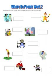 English worksheets: Where Do People Work - Page 2