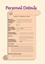 English Worksheet: Personal Details: CV / resume A1-A2