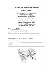 English worksheet: IF SCHOOL WERE MORE LIKE BASEBALL
