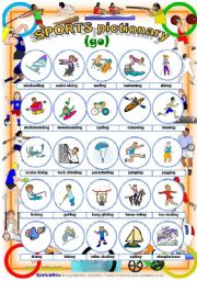 English Worksheet: Sports Pictionary with the verb