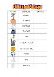 english worksheet halloween vocabulary scrambled words - Halloween Vocab Words