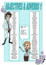 English Worksheet: ADJECTIVES AND ADVERBS POSTER - PART 1