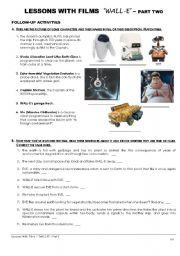 English Worksheets: Lessons witth films - �WALL-E� - Part Two of Two
