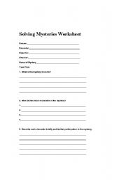 English Worksheets Solving A Mystery Worksheet