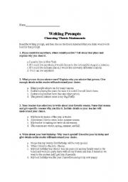 English Worksheets: Writing Prompts- Choosing Thesis Spatements