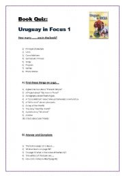 English Worksheet: EXPLORING THE BOOK URUGUAY IN FOCUS 1