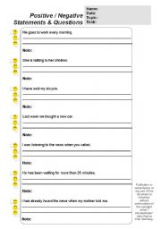 English Worksheets: Tenses & Auxiliaries (Positive / Negative Statements & Questions) (TEXT:FULLY EDITABLE) (by blunderbuster)