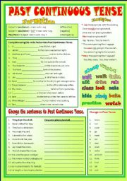 English Worksheet: PAST CONTINUOUS TENSE  - (B/W) & Keys