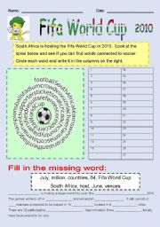 English Worksheet: Fifa World Cup Word-spiral