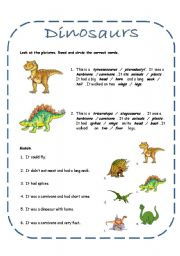 English Worksheets: Dinosaurs activities including a song (4 pages + answer key)