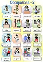English Worksheet: Occupations Poster 2