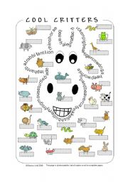 English Worksheet: Cool Critters - Animal Wordsearch/Pictionary (by blunderbuster)