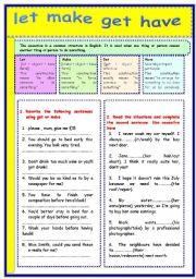 English Worksheet: causative verbs: let-make-get-have
