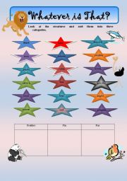 English Worksheets: Putting Animals in their respective group