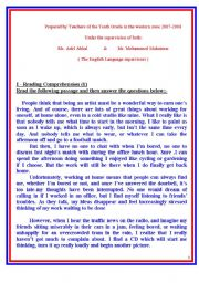 English Worksheet: A collection of tests on different themes, reading, vocab, grammar amd writing. The tests were set by a number of teachers in the Western Educational Zone, supervised by Mr. Adel Abkal and Mr. M Mukhaimar.