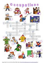English Worksheet: Occupations - crossword (editable + key)