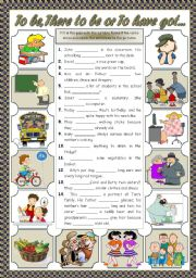 English Worksheet: TO BE, THERE TO BE, TO HAVE GOT...