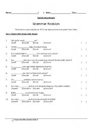 Printables Grammar Worksheets With Answers english worksheets grammar revision worksheet modals and reported speech answers provided