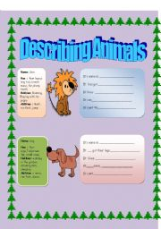 English Worksheets: DESCRIBING ANIMALS ( TO BE, CAN-CAN�T and HAS GOT included)