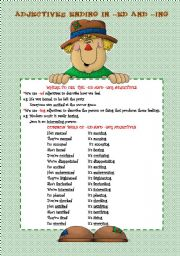 English Worksheet: ADJECTIVES ENDING IN -ED AND -ING (3 PAGES)