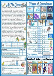 English Worksheets: Means of entertainment(+ Key)