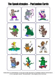 English Worksheet: Miming / Pantomime Cards - The Animal Speakolympics (set of 36 cards)