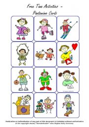 English Worksheets: Free Time Activities - Miming / Pantomime (36 Cards)