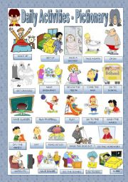 English Worksheets: DAILY ACTIVITIES - PICTIONARY