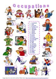 English worksheet: Occupations - matching exercise (editable)