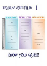 English worksheet: Irregular Verbs Chart Fill-In (4 pages) {Fully Editable}