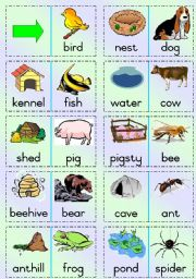 English Worksheet: Animal Homes domino-game