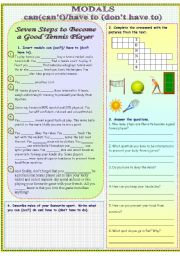 English Worksheet: Modals can/can�t/have to/don�t have to