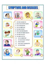 English Worksheet: SYMPTOMS MATCH