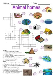 English Worksheets: Animal Homes crossword