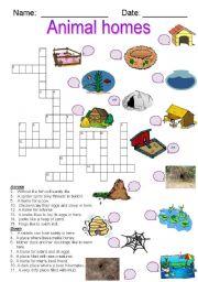 English Worksheet: Animal Homes crossword
