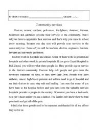 English Worksheet: Community services and community helpers.