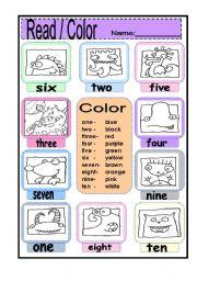 reading number and color words esl worksheet by annyj. Black Bedroom Furniture Sets. Home Design Ideas