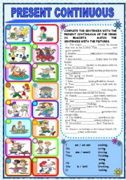 English Worksheet: PRESENT CONTINUOUS (Grey scale & key included) - FULLY EDITABLE