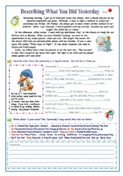 English Worksheet: Describing What You Did Yesterday