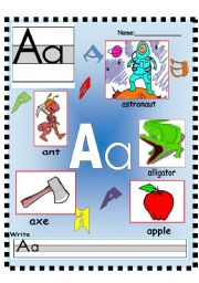 English Worksheets: Letter Aa Vocabulary poster and Writing worksheet